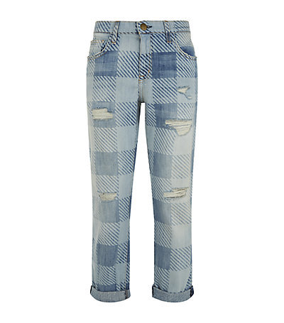 The Fling Slim Plaid Boyfriend Jeans - style: boyfriend; length: standard; pattern: checked/gingham; pocket detail: traditional 5 pocket; waist: mid/regular rise; predominant colour: denim; occasions: casual; fibres: cotton - stretch; jeans & bottoms detail: turn ups; texture group: denim; pattern type: fabric; jeans detail: rips; season: s/s 2015; pattern size: big & busy (bottom); wardrobe: highlight