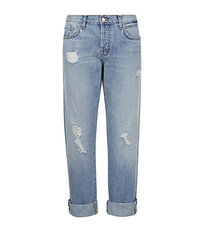 Sonny Oversized Boyfriend Jeans - style: boyfriend; length: standard; pattern: plain; pocket detail: traditional 5 pocket; waist: mid/regular rise; predominant colour: denim; occasions: casual; fibres: cotton - stretch; jeans detail: shading down centre of thigh, washed/faded, rips; jeans & bottoms detail: turn ups; texture group: denim; pattern type: fabric; season: s/s 2015; wardrobe: basic