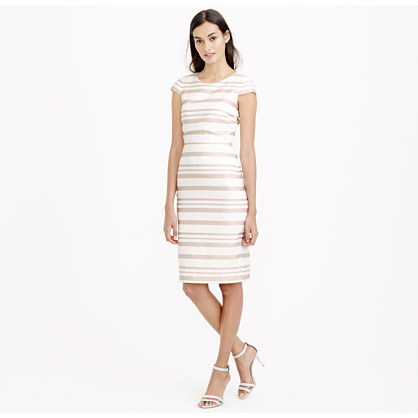 Double Stripe Cap Sleeve Dress - style: shift; neckline: round neck; sleeve style: capped; fit: tailored/fitted; pattern: horizontal stripes; predominant colour: ivory/cream; secondary colour: stone; occasions: evening, occasion; length: on the knee; sleeve length: short sleeve; pattern type: fabric; pattern size: standard; texture group: woven light midweight; season: s/s 2015; wardrobe: event