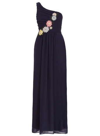 Womens **Elise Ryan One Shoulder Flower Trim Maxi Navy - pattern: plain; sleeve style: sleeveless; style: maxi dress; length: ankle length; neckline: asymmetric; predominant colour: navy; occasions: evening, occasion; fit: fitted at waist & bust; fibres: polyester/polyamide - 100%; hip detail: subtle/flattering hip detail; sleeve length: sleeveless; texture group: sheer fabrics/chiffon/organza etc.; pattern type: fabric; embellishment: embroidered; season: s/s 2015; wardrobe: event; embellishment location: bust
