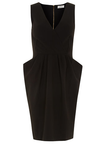 Womens **Closet Black Cross Over Dress Black - neckline: low v-neck; fit: tailored/fitted; pattern: plain; sleeve style: sleeveless; style: lantern shaped; predominant colour: black; occasions: evening, occasion; length: just above the knee; fibres: polyester/polyamide - stretch; hip detail: structured pleats at hip; sleeve length: sleeveless; pattern type: fabric; texture group: other - light to midweight; season: s/s 2015