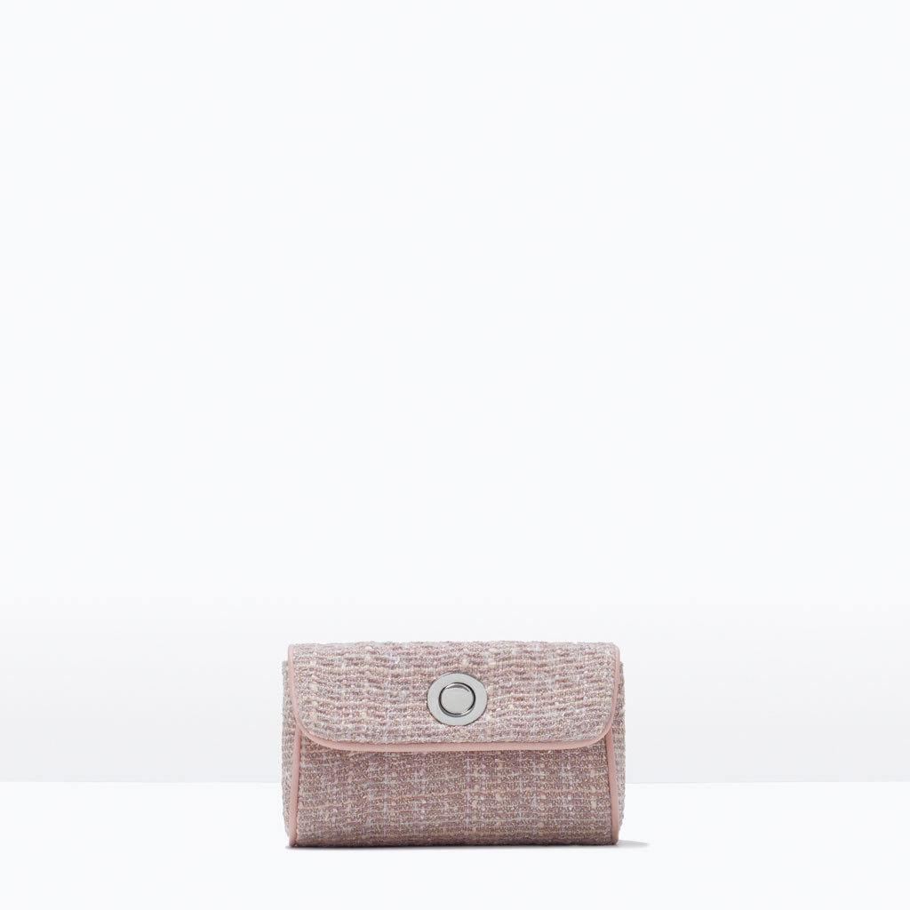 Fabric Mini Messenger Bag - predominant colour: blush; occasions: evening, occasion; type of pattern: light; style: clutch; length: across body/long; size: small; material: faux leather; pattern: herringbone/tweed; finish: plain; season: s/s 2015