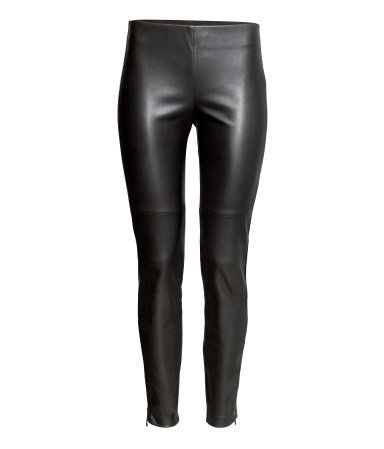 Imitation Leather Trousers - length: standard; pattern: plain; waist detail: elasticated waist; waist: high rise; predominant colour: black; occasions: casual, evening, creative work; texture group: leather; fit: skinny/tight leg; pattern type: fabric; style: standard; fibres: pvc/polyurethene - 100%; season: s/s 2015; wardrobe: highlight