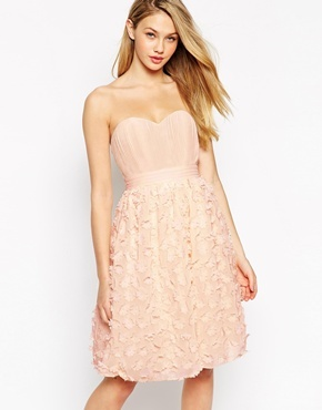 Bandeau Prom Dress With 3 D Floral Applique Skirt Nude - neckline: strapless (straight/sweetheart); pattern: plain; sleeve style: strapless; predominant colour: nude; occasions: evening, occasion; length: on the knee; fit: fitted at waist & bust; style: fit & flare; fibres: polyester/polyamide - 100%; sleeve length: sleeveless; pattern type: fabric; texture group: other - light to midweight; season: s/s 2015