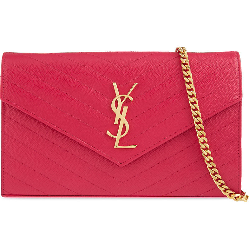 Monogram Quilted Leather Shoulder Bag, Women's, Pink - predominant colour: true red; occasions: evening, occasion; type of pattern: standard; style: clutch; length: hand carry; size: small; material: leather; pattern: plain; finish: plain; season: s/s 2015; wardrobe: event