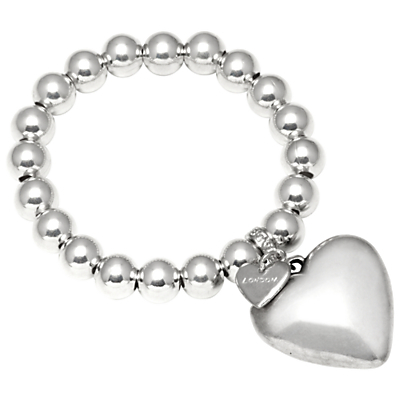 Bead Large Heart Stretch Bracelet, Silver - predominant colour: silver; occasions: casual; size: standard; material: chain/metal; finish: metallic; embellishment: beading; season: s/s 2015; style: bead