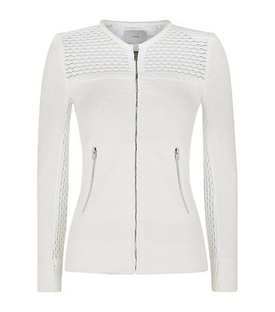 Mesh Detail Boucle Jacket - pattern: plain; collar: round collar/collarless; fit: slim fit; style: bomber; predominant colour: white; occasions: casual, creative work; length: standard; fibres: polyester/polyamide - mix; sleeve length: long sleeve; sleeve style: standard; collar break: high; pattern type: fabric; texture group: other - light to midweight; season: s/s 2015