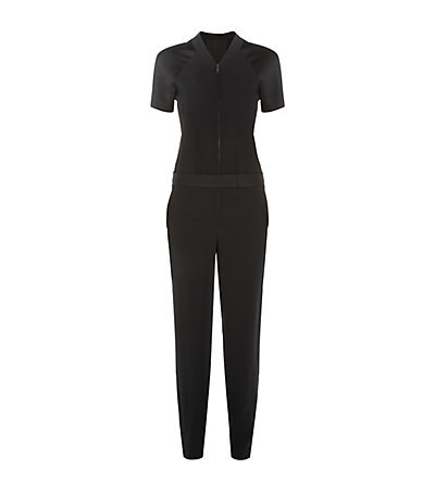Crepe Zip Front Jumpsuit - length: standard; neckline: v-neck; pattern: plain; predominant colour: black; occasions: evening; fit: body skimming; fibres: viscose/rayon - stretch; sleeve length: short sleeve; sleeve style: standard; texture group: crepes; style: jumpsuit; pattern type: fabric; season: s/s 2015; wardrobe: event