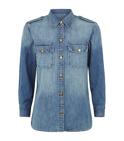 The Perfect Denim Shirt - neckline: shirt collar/peter pan/zip with opening; pattern: plain; shoulder detail: obvious epaulette; style: shirt; predominant colour: denim; occasions: casual, creative work; length: standard; fibres: cotton - stretch; fit: straight cut; sleeve length: long sleeve; sleeve style: standard; texture group: denim; bust detail: bulky details at bust; pattern type: fabric; season: s/s 2015; wardrobe: highlight