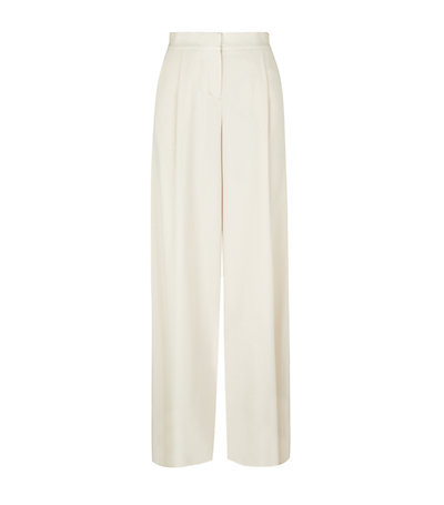 Crepe Wide Leg Trousers - length: standard; pattern: plain; style: palazzo; waist: high rise; predominant colour: ivory/cream; fibres: polyester/polyamide - mix; occasions: occasion; texture group: crepes; fit: wide leg; pattern type: fabric; season: s/s 2015; wardrobe: event