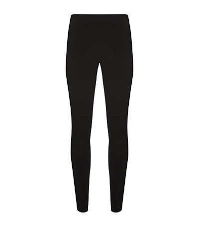 Seam Detail Pull On Leggings - length: standard; pattern: plain; style: leggings; waist detail: elasticated waist; waist: mid/regular rise; predominant colour: black; occasions: casual, creative work; texture group: jersey - clingy; fit: skinny/tight leg; pattern type: fabric; fibres: viscose/rayon - mix; season: s/s 2015