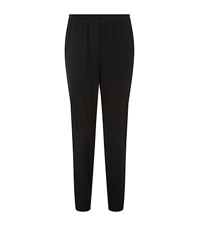 Crepe Tapered Trousers - length: standard; pattern: plain; style: peg leg; waist: mid/regular rise; predominant colour: black; occasions: evening, work; fibres: polyester/polyamide - mix; texture group: crepes; fit: tapered; pattern type: fabric; season: s/s 2015; wardrobe: basic