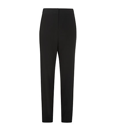 Narrow Leg Crepe Trousers - length: standard; pattern: plain; style: peg leg; waist: high rise; predominant colour: black; occasions: evening, work; fibres: polyester/polyamide - mix; texture group: crepes; fit: slim leg; pattern type: fabric; season: s/s 2015; wardrobe: basic