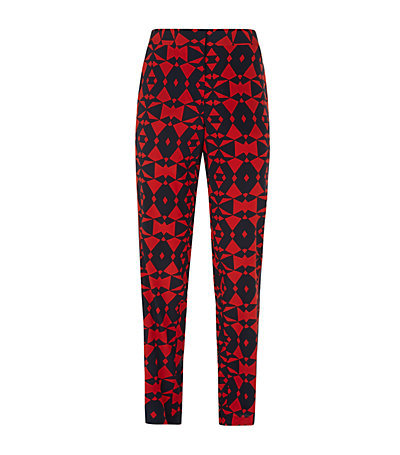 Geometric Narrow Leg Crepe Trousers - length: standard; style: peg leg; waist: high rise; predominant colour: true red; secondary colour: black; occasions: casual, creative work; fibres: polyester/polyamide - mix; texture group: crepes; fit: tapered; pattern type: fabric; pattern: patterned/print; season: s/s 2015; pattern size: big & busy (bottom); wardrobe: highlight