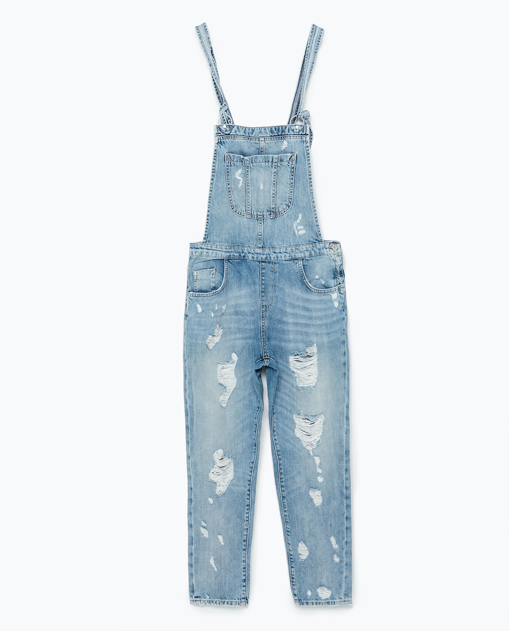 Ripped Denim Dungarees - pattern: plain; sleeve style: sleeveless; predominant colour: denim; occasions: casual, holiday; length: ankle length; fit: body skimming; fibres: cotton - 100%; sleeve length: sleeveless; texture group: denim; style: dungarees; neckline: low square neck; pattern type: fabric; season: s/s 2015; wardrobe: holiday