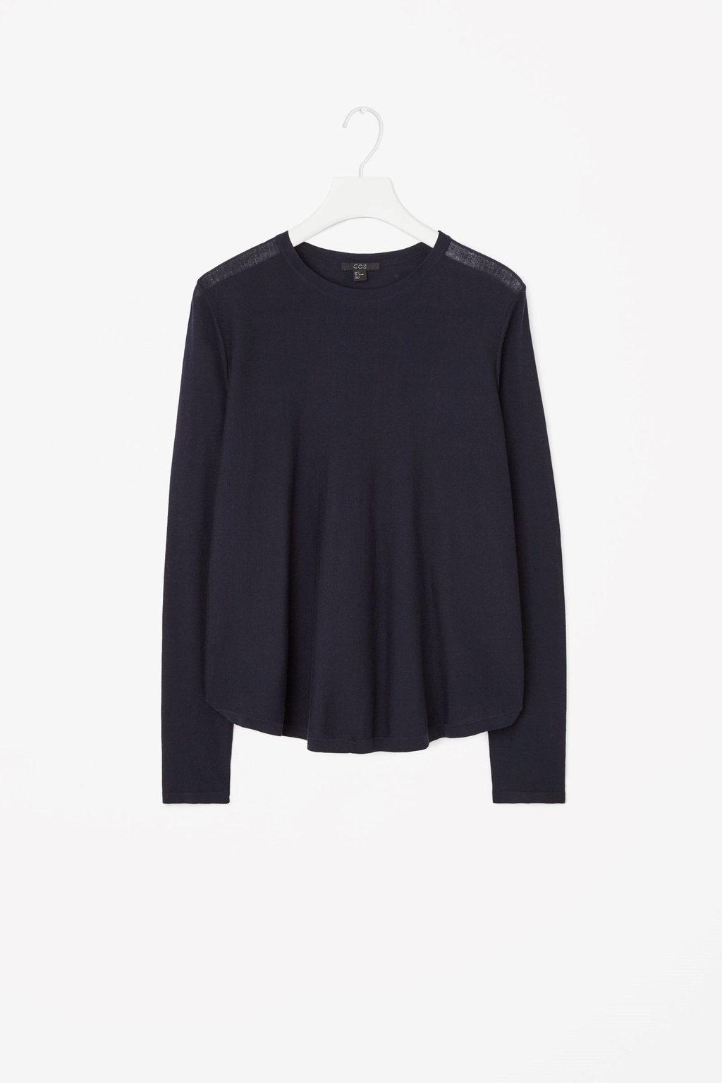 Pleated Back Jumper - neckline: round neck; pattern: plain; style: standard; predominant colour: navy; occasions: casual, creative work; length: standard; fit: standard fit; sleeve length: long sleeve; sleeve style: standard; texture group: knits/crochet; pattern type: knitted - fine stitch; season: s/s 2015; wardrobe: basic