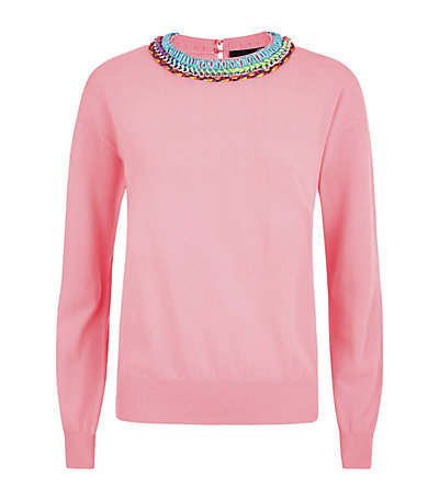 Contrast Trim Sweater - pattern: plain; style: standard; predominant colour: pink; occasions: casual, creative work; length: standard; fibres: cotton - 100%; fit: slim fit; neckline: crew; sleeve length: long sleeve; sleeve style: standard; texture group: knits/crochet; pattern type: fabric; embellishment: beading; season: s/s 2015