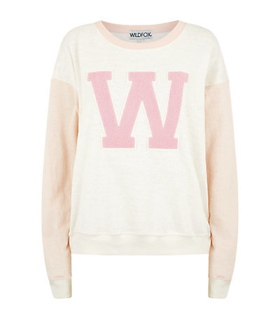 Cheer Squad Oversized Sweater - neckline: round neck; style: standard; secondary colour: pink; predominant colour: nude; occasions: casual; length: standard; fibres: cotton - mix; fit: loose; sleeve length: long sleeve; sleeve style: standard; pattern type: fabric; texture group: jersey - stretchy/drapey; pattern: graphic/slogan; season: s/s 2015; multicoloured: multicoloured; wardrobe: highlight