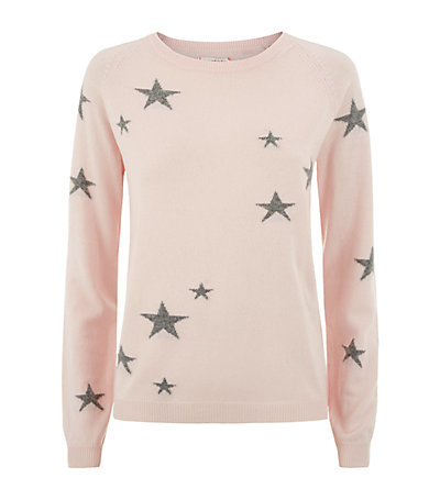 Star Cashmere Sweater - style: standard; predominant colour: blush; secondary colour: mid grey; occasions: casual; length: standard; fit: standard fit; neckline: crew; fibres: cashmere - 100%; sleeve length: long sleeve; sleeve style: standard; texture group: knits/crochet; pattern type: fabric; pattern: patterned/print; season: s/s 2015; multicoloured: multicoloured