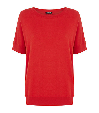 Batwing Jumper - pattern: plain; style: standard; predominant colour: true red; occasions: casual, creative work; length: standard; fibres: nylon - mix; fit: standard fit; neckline: crew; sleeve length: short sleeve; sleeve style: standard; texture group: knits/crochet; pattern type: fabric; season: s/s 2015