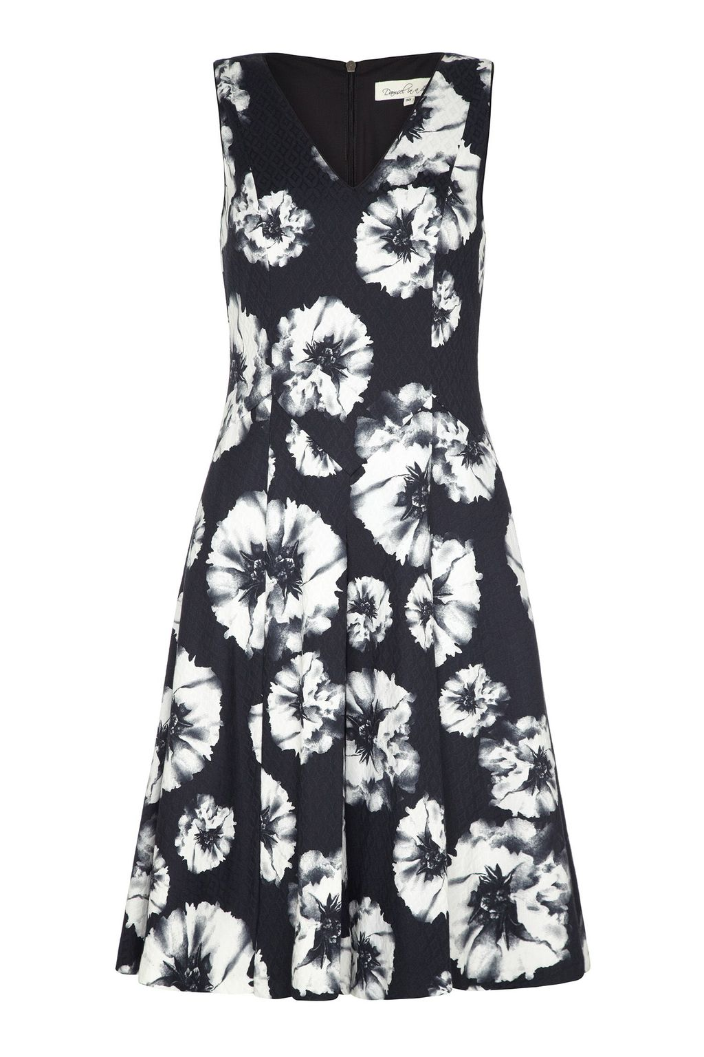 Reflections Dress, Black - neckline: v-neck; sleeve style: sleeveless; secondary colour: white; predominant colour: navy; occasions: evening, occasion; length: just above the knee; fit: fitted at waist & bust; style: fit & flare; fibres: cotton - stretch; hip detail: subtle/flattering hip detail; sleeve length: sleeveless; pattern type: fabric; pattern size: standard; pattern: florals; texture group: woven light midweight; trends: exotic blooms; season: s/s 2015; wardrobe: event