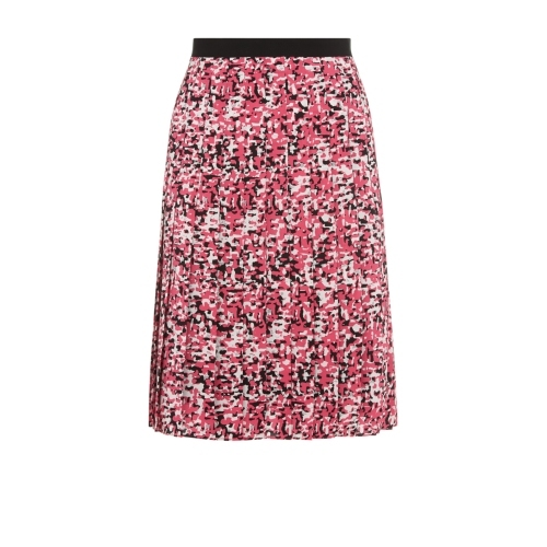 Foxglove Skirt - fit: loose/voluminous; style: pleated; waist: mid/regular rise; predominant colour: black; occasions: casual, occasion; length: on the knee; fibres: silk - 100%; waist detail: feature waist detail; texture group: silky - light; pattern type: fabric; pattern: patterned/print; secondary colour: dusky pink; season: s/s 2015; pattern size: standard (bottom); multicoloured: multicoloured; wardrobe: highlight