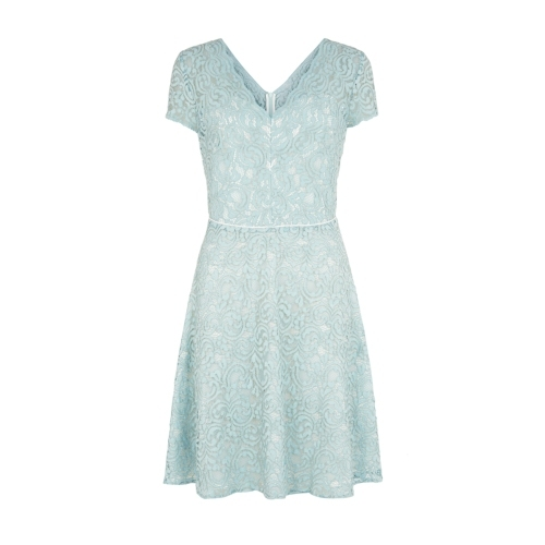 Gardenia Dress - neckline: v-neck; pattern: plain; predominant colour: pistachio; occasions: evening, occasion; length: just above the knee; fit: fitted at waist & bust; style: fit & flare; fibres: nylon - mix; sleeve length: short sleeve; sleeve style: standard; texture group: lace; season: s/s 2015; wardrobe: event