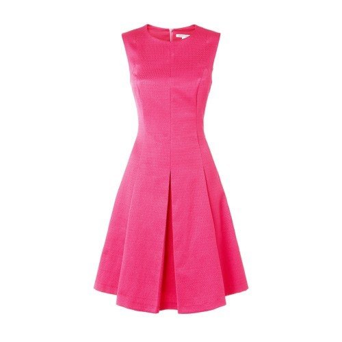 Acacia Dress - length: mid thigh; pattern: plain; sleeve style: sleeveless; style: prom dress; predominant colour: hot pink; occasions: evening, occasion; fit: fitted at waist & bust; fibres: cotton - 100%; neckline: crew; hip detail: structured pleats at hip; sleeve length: sleeveless; pattern type: fabric; texture group: brocade/jacquard; season: s/s 2015