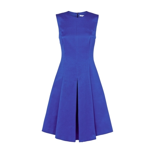 Delphinium Dress Blue - length: below the knee; pattern: plain; sleeve style: sleeveless; style: prom dress; predominant colour: royal blue; occasions: evening, occasion; fit: fitted at waist & bust; fibres: cotton - 100%; neckline: crew; hip detail: structured pleats at hip; sleeve length: sleeveless; pattern type: fabric; texture group: brocade/jacquard; season: s/s 2015; wardrobe: event