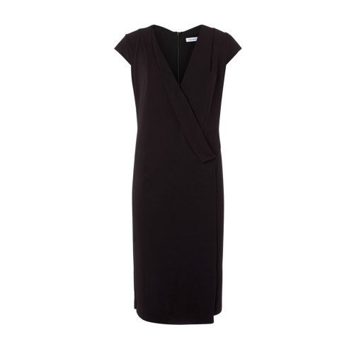 Laurel Dress - neckline: v-neck; sleeve style: capped; pattern: plain; style: drop waist; predominant colour: black; occasions: evening, creative work; length: on the knee; fit: straight cut; fibres: viscose/rayon - 100%; sleeve length: short sleeve; texture group: crepes; season: s/s 2015; wardrobe: investment