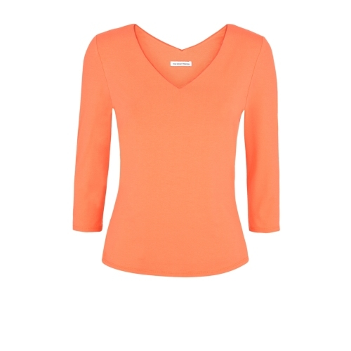 Daphne Top Orange - neckline: low v-neck; pattern: plain; predominant colour: bright orange; occasions: casual, creative work; length: standard; style: top; fibres: viscose/rayon - stretch; fit: body skimming; sleeve length: 3/4 length; sleeve style: standard; pattern type: fabric; texture group: jersey - stretchy/drapey; season: s/s 2015; wardrobe: highlight