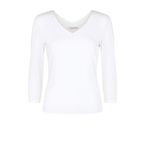Daphne Top White - neckline: v-neck; pattern: plain; predominant colour: white; occasions: casual, work, creative work; length: standard; style: top; fibres: viscose/rayon - stretch; fit: body skimming; sleeve length: 3/4 length; sleeve style: standard; pattern type: fabric; texture group: jersey - stretchy/drapey; season: s/s 2015; wardrobe: basic