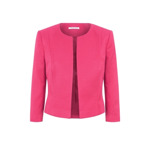 Delphine Jacket - pattern: plain; style: single breasted blazer; collar: round collar/collarless; predominant colour: hot pink; occasions: casual, occasion, creative work; length: standard; fit: tailored/fitted; fibres: cotton - 100%; sleeve length: long sleeve; sleeve style: standard; collar break: high; texture group: woven light midweight; season: s/s 2015; wardrobe: highlight