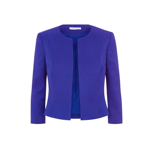 Delphine Jacket - pattern: plain; style: single breasted blazer; collar: round collar/collarless; predominant colour: royal blue; occasions: work, occasion, creative work; length: standard; fit: tailored/fitted; fibres: cotton - 100%; sleeve length: 3/4 length; sleeve style: standard; texture group: cotton feel fabrics; collar break: high; season: s/s 2015