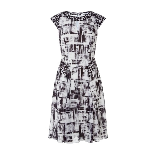 Aster Print Dress - sleeve style: capped; pattern: checked/gingham; waist detail: belted waist/tie at waist/drawstring; secondary colour: white; predominant colour: black; length: on the knee; fit: fitted at waist & bust; style: fit & flare; fibres: polyester/polyamide - 100%; occasions: occasion, creative work; neckline: crew; hip detail: soft pleats at hip/draping at hip/flared at hip; sleeve length: short sleeve; texture group: other - light to midweight; season: s/s 2015