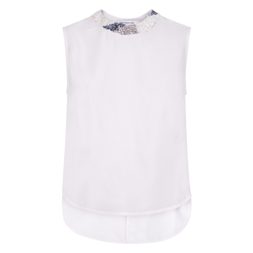 Verbena Top - pattern: plain; sleeve style: sleeveless; predominant colour: white; occasions: casual, evening; length: standard; style: top; fibres: cotton - 100%; fit: straight cut; neckline: crew; sleeve length: sleeveless; texture group: crepes; pattern type: fabric; embellishment: sequins; season: s/s 2015; wardrobe: highlight