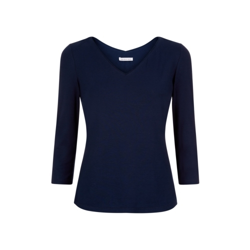Daphne Top Navy - neckline: v-neck; pattern: plain; predominant colour: navy; occasions: casual, work, creative work; length: standard; style: top; fibres: viscose/rayon - stretch; fit: body skimming; sleeve length: 3/4 length; sleeve style: standard; pattern type: fabric; texture group: jersey - stretchy/drapey; season: s/s 2015