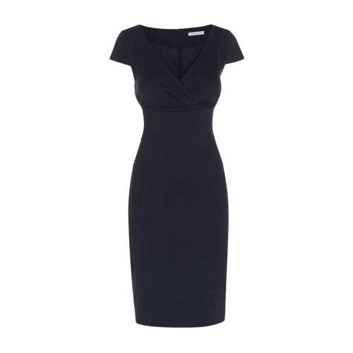 Libertia Dress - style: faux wrap/wrap; neckline: low v-neck; sleeve style: capped; fit: tailored/fitted; pattern: plain; predominant colour: navy; occasions: evening, creative work; length: on the knee; fibres: linen - 100%; sleeve length: short sleeve; texture group: linen; pattern type: fabric; season: s/s 2015; wardrobe: investment