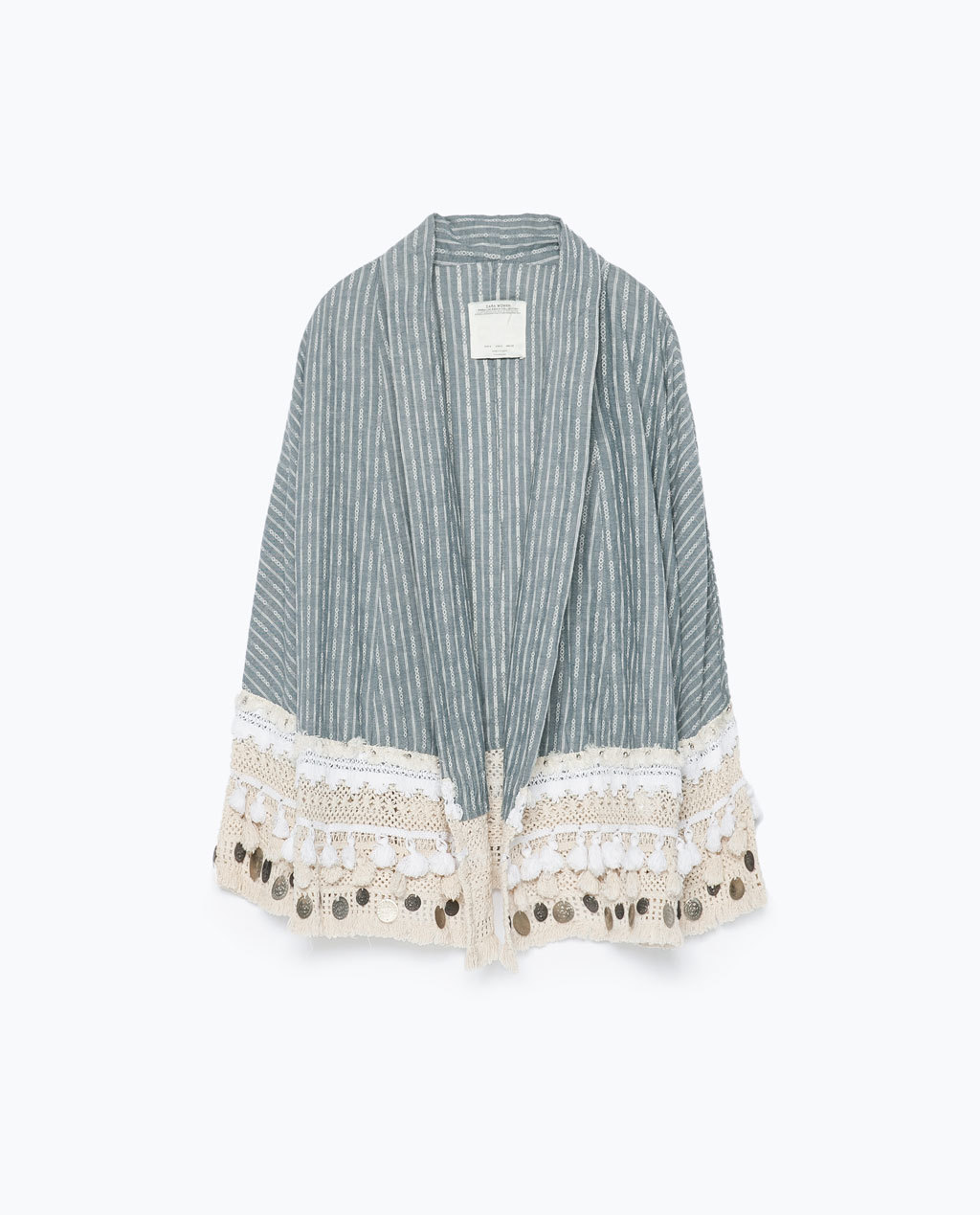 Folk Style Kimono - neckline: shawl; length: below the bottom; style: open front; occasions: casual, creative work; fibres: cotton - 100%; fit: loose; predominant colour: multicoloured; sleeve length: long sleeve; sleeve style: standard; pattern type: fabric; pattern size: standard; pattern: patterned/print; texture group: woven light midweight; season: s/s 2015; multicoloured: multicoloured; wardrobe: highlight