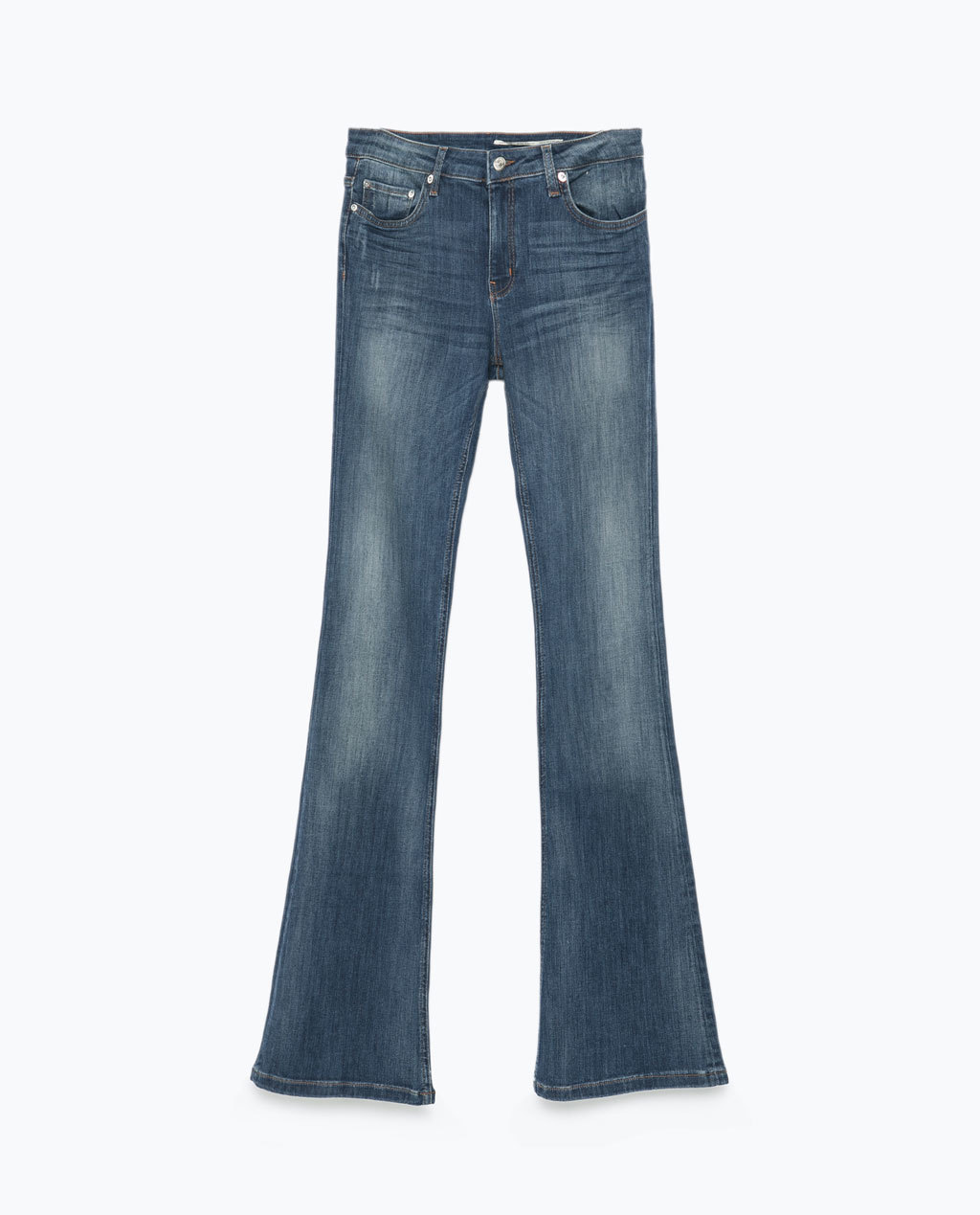 Flared Jeans - style: flares; length: standard; pattern: plain; pocket detail: traditional 5 pocket; waist: mid/regular rise; predominant colour: navy; occasions: casual; fibres: cotton - stretch; jeans detail: shading down centre of thigh, washed/faded; texture group: denim; pattern type: fabric; trends: seventies retro; season: s/s 2015; wardrobe: basic