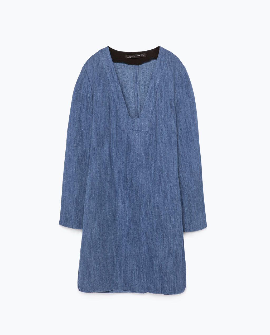 Bell Sleeve Tunic - style: tunic; length: mid thigh; neckline: low v-neck; pattern: plain; predominant colour: denim; occasions: casual, creative work; fit: straight cut; sleeve length: long sleeve; sleeve style: standard; texture group: denim; pattern type: fabric; trends: alternative denim; season: s/s 2015; wardrobe: basic