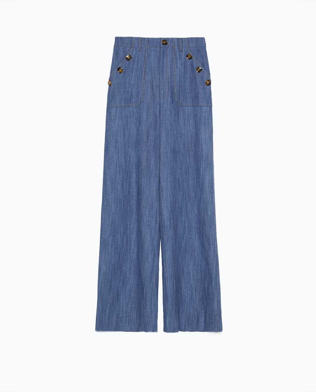High Waist Wide Legged Jeans - length: standard; pattern: plain; waist: high rise; style: wide leg; predominant colour: denim; occasions: casual, creative work; fibres: cotton - 100%; texture group: denim; pattern type: fabric; trends: seventies retro; season: s/s 2015; wardrobe: basic