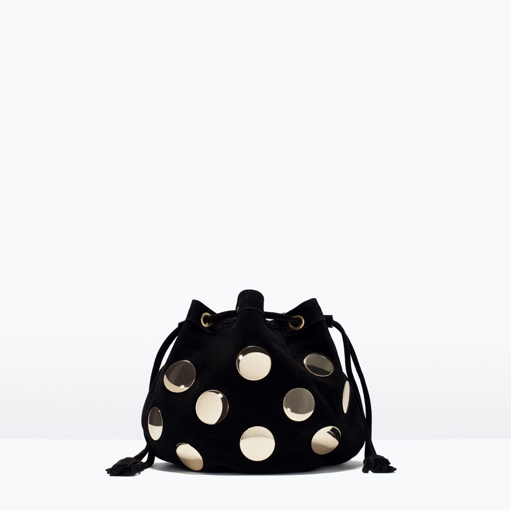Metal Detail Leather Mini Bucket Bag - predominant colour: black; occasions: casual, evening, creative work; style: onion bag; length: shoulder (tucks under arm); size: small; material: leather; pattern: plain; finish: metallic; embellishment: chain/metal; season: s/s 2015; wardrobe: investment