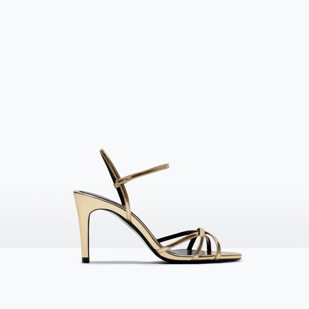 Medium Heel Shiny Sandals - predominant colour: gold; occasions: evening, occasion; material: faux leather; heel height: high; ankle detail: ankle strap; heel: stiletto; toe: open toe/peeptoe; style: strappy; finish: metallic; pattern: plain; season: s/s 2015