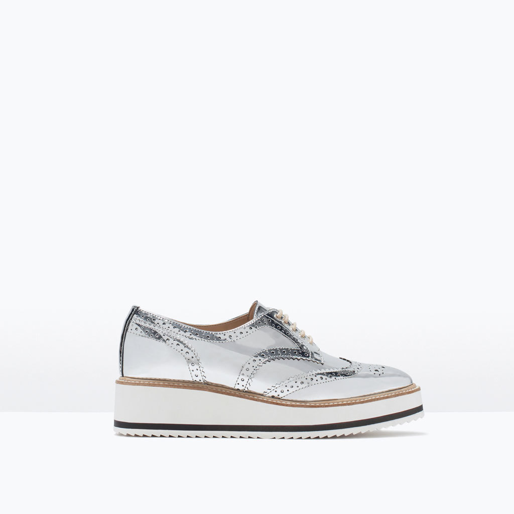 Metallic Platform Bluchers - predominant colour: silver; occasions: casual, creative work; material: faux leather; heel height: flat; toe: round toe; style: brogues; finish: metallic; pattern: plain; shoe detail: platform with tread; season: s/s 2015; wardrobe: highlight