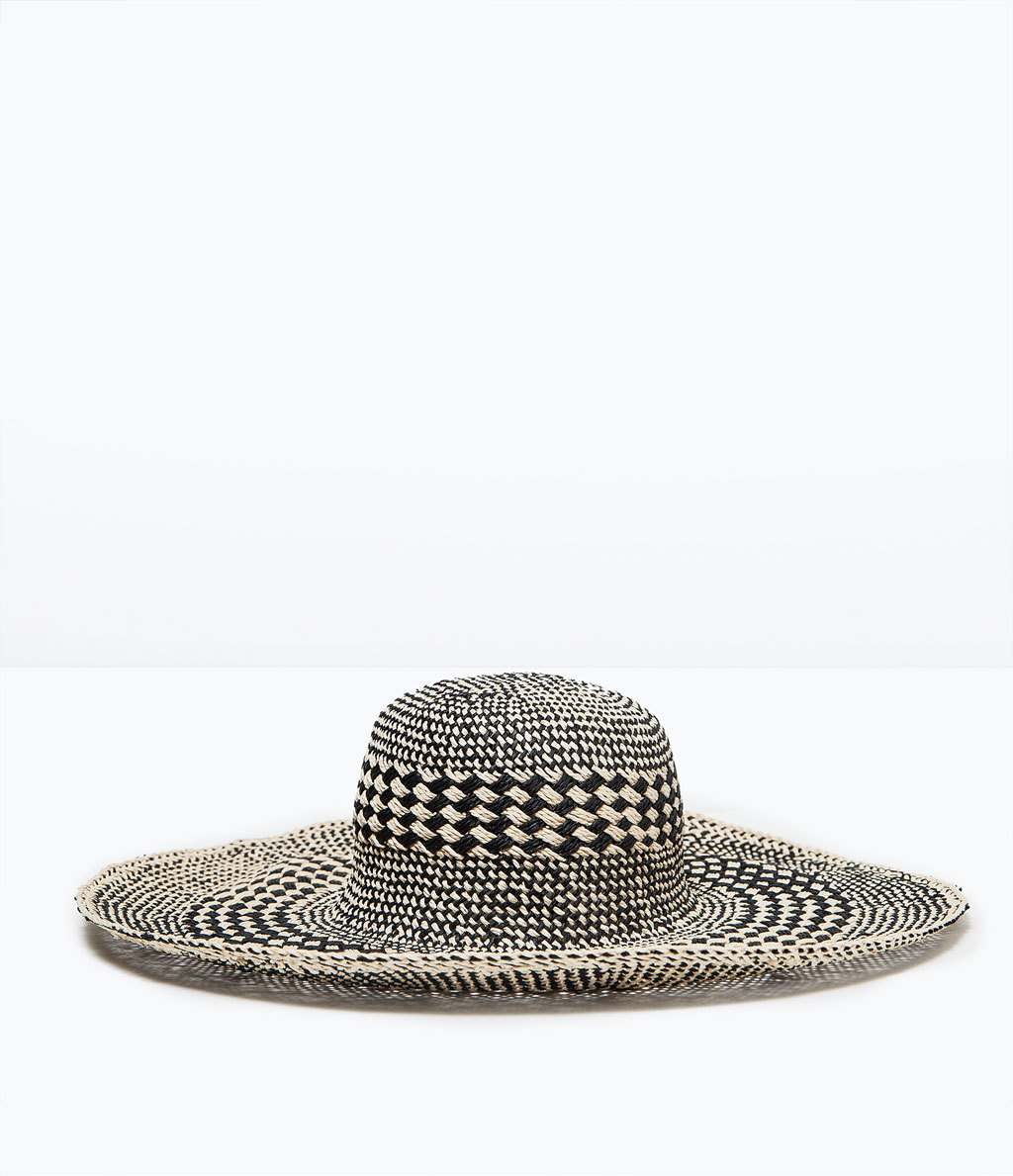 Two Tone Wide Brim Hat - secondary colour: ivory/cream; predominant colour: black; occasions: casual, holiday; type of pattern: large; style: wide brimmed; size: large; material: fabric; pattern: checked/gingham; season: s/s 2015; wardrobe: holiday