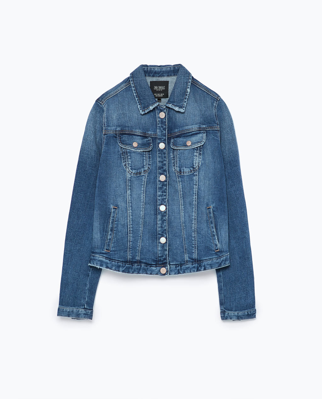 Basic Denim Jacket - pattern: plain; style: denim; predominant colour: denim; occasions: casual, creative work; length: standard; fit: straight cut (boxy); fibres: cotton - mix; collar: shirt collar/peter pan/zip with opening; sleeve length: long sleeve; sleeve style: standard; texture group: denim; collar break: high/illusion of break when open; pattern type: fabric; season: s/s 2015; wardrobe: basic