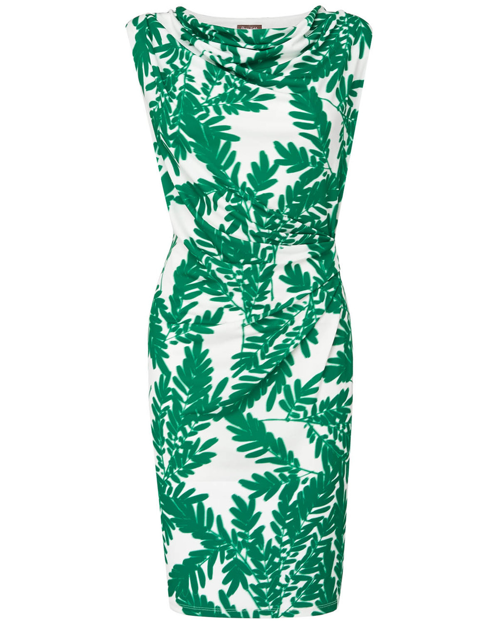 Fionn Fern Print Dress - style: shift; neckline: cowl/draped neck; sleeve style: sleeveless; predominant colour: emerald green; length: just above the knee; fit: body skimming; fibres: viscose/rayon - stretch; occasions: occasion; sleeve length: sleeveless; pattern type: fabric; pattern size: big & busy; pattern: florals; texture group: jersey - stretchy/drapey; season: s/s 2015; wardrobe: event