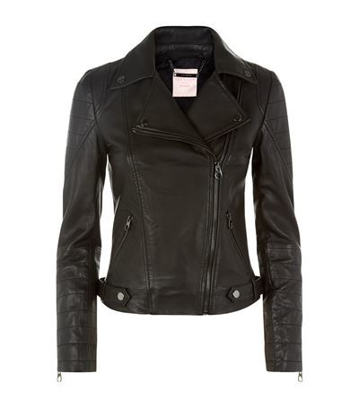 Biker Jacket - pattern: plain; style: biker; collar: asymmetric biker; fit: slim fit; predominant colour: black; occasions: casual, evening, creative work; length: standard; fibres: leather - 100%; sleeve length: long sleeve; sleeve style: standard; texture group: leather; collar break: high/illusion of break when open; pattern type: fabric; season: s/s 2015; wardrobe: basic