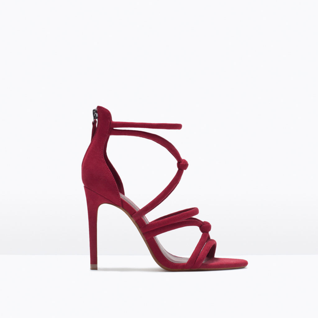 Knotted High Heel Sandals - predominant colour: true red; occasions: evening, occasion; ankle detail: ankle strap; heel: stiletto; toe: open toe/peeptoe; style: strappy; finish: plain; pattern: plain; heel height: very high; material: faux suede; season: s/s 2015